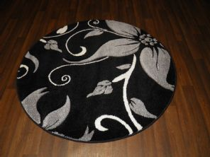 NEW 120CMX120CM CIRCLE RUG WOVEN BACK HAND CARVED BLACK/SILVER LILY LOVLEY